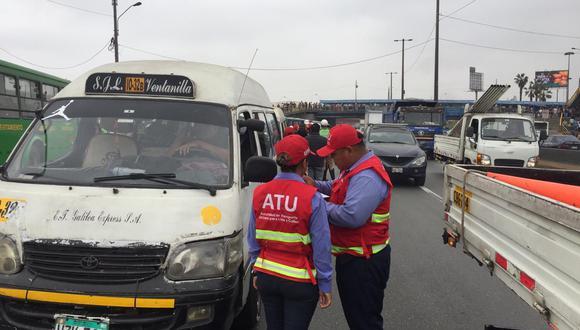 De acuerdo con la ATU, de las unidades de transporte intervenidas, detectaron que 10 realizaban el servicio de transporte público de manera informal.  (Foto: ATU)
