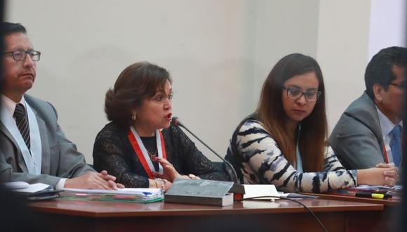 Sonia Medina en la audiencia del Caso Tarata. Reiteró que el cabecilla terrorista la amenazó en la sesión del martes pasado.(Foto: El Comercio/ Juan Ponce)