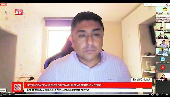 Guillermo Bermejo, quien es acusado por presunto delito de terrorismo, dijo que no se acogerá la conclusión anticipada de su juicio. (Foto: Justicia TV)