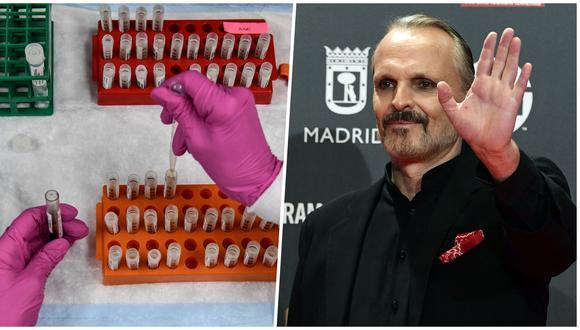A la izquierda, un técnico de laboratorio ordena muestras de sangre para un estudio del Covid-19 en EE.UU. A la derecha, el cantante español Miguel Bosé, ahora ausente en las redes sociales, quien divulgó noticias falsas mediante sus cuentas.  (Fotos: Chandan Khanna y Pierre-Philippe Marcou para AFP)