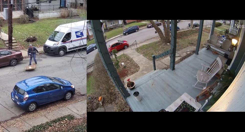 En las imágenes, se observa al cartero lanzando y empujando a rastras con el pie una caja que tenía que llevar al otro lado de la calle. (Foto: Nick Verzilli en YouTube)