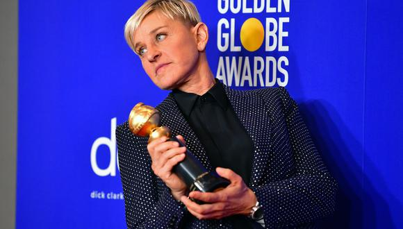 US actress and TV host Ellen DeGeneres poses in the press room with the Carol Burnett award during the 77th annual Golden Globe Awards on January 5, 2020, at The Beverly Hilton hotel in Beverly Hills, California. (Photo by FREDERIC J. BROWN / AFP)