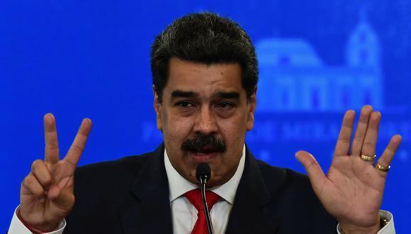 El de Venezuela, Nicolás Maduro, habla durante una conferencia de prensa en Caracas el 8 de diciembre de 2020. (Foto de YURI CORTEZ / AFP).