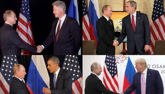Vladimir Putin con Bill Clinton, George Bush, Barack Obama y Donald Trump. (JIM WATSON, MIKHAIL KLIMENTYEV, STEPHEN JAFFE, ALEXEY NIKOLSKY / AFP / RIA NOVOSTI).
