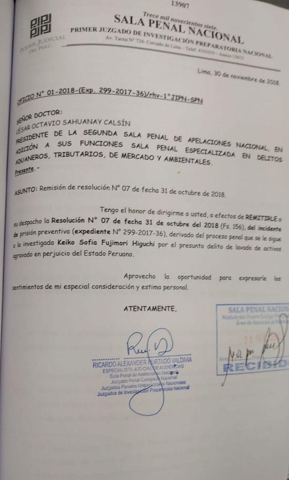 Oficio del expediente que da cuenta a la Sala Superior la resolución de prisión preventiva ordenada contra Keiko Fujimori.