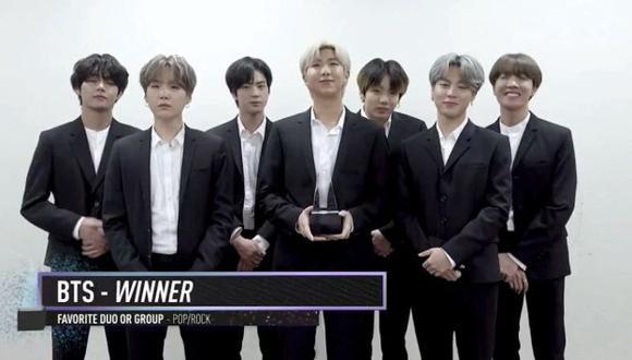 BTS ganó categoría Mejor dúo o grupo favorito Pop / Rock de los American Music Awards. (Imagen:  AMAs)