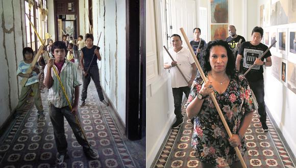 Rosa Isabel Morfino y sus compañeros de reparto recrean la recordada imagen que identifica la película, en el mismo lugar donde esta fue tomada. (Foto: Archivo/ Rolly Reyna)