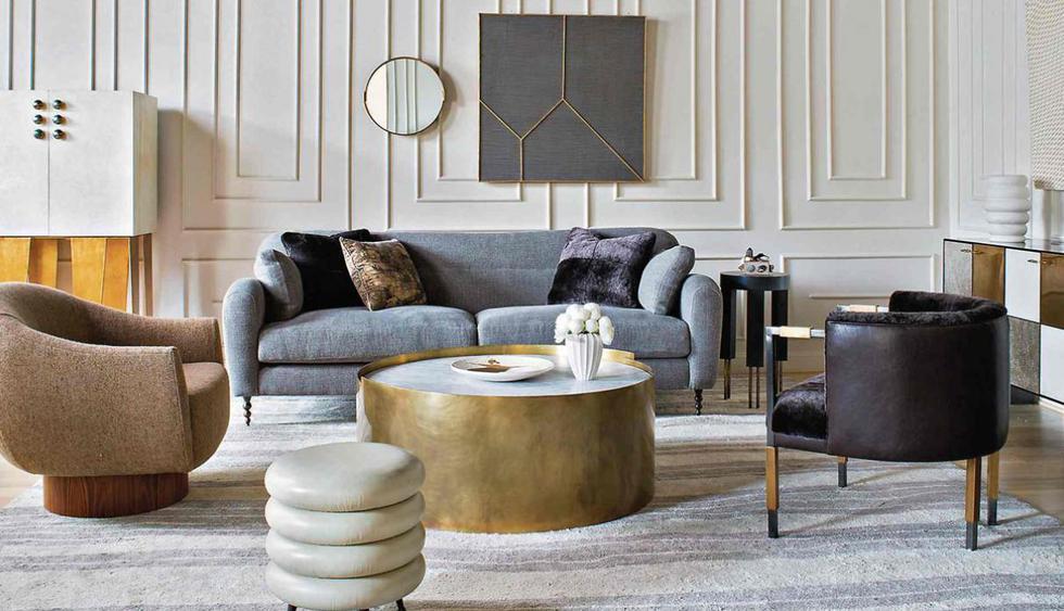 Logra una estética moderna, pero glamorosa con muebles de diseño sencillo, que exhiban un acabado metalizado opaco. (Foto: Kelly Wearstler)