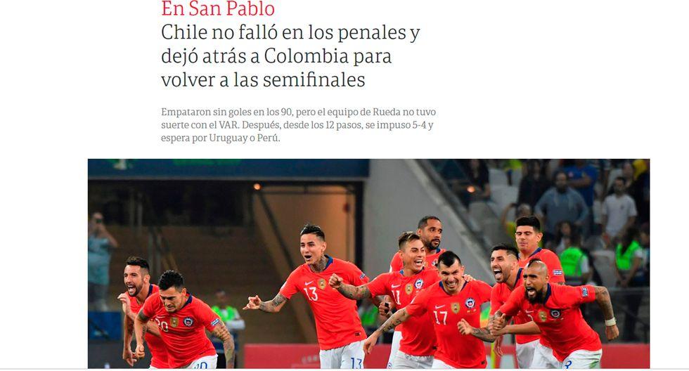 Así informaron los medios internacionales la clasificación de Chile en la Copa América. (Clarín de Argentina)