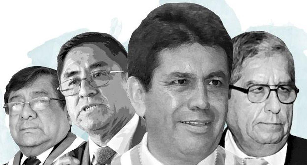 Orlando Velásquez, César Hinostroza, Tomás Gálvez y Julio Gutiérrez Pebe, todos investigados por el fiscal supremo Pablo Sánchez. (Foto composición El Comercio)