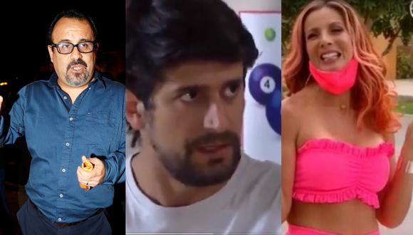 """De izquierda a derecha Gigio Aranda (productor de """"De vuelta al barrio"""") y los actores Sebastián Rubio y Fiorella Florez. Fotos: El Comercio/ América TV."""