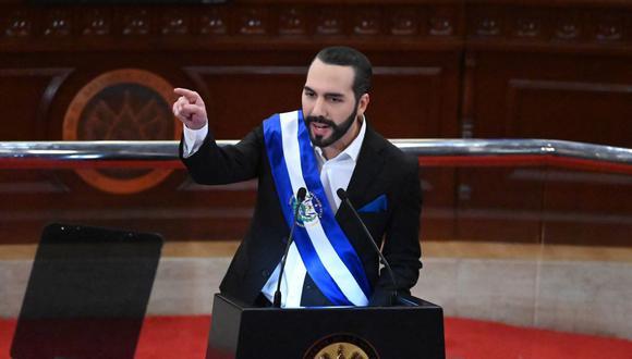 El presidente de El Salvador, Nayib Bukele, pronuncia su discurso anual a la nación el 1 de junio de 2021. (MARVIN RECINOS / AFP).