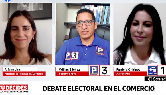 Willian Sánchez y Patricia Chirinos participaron en el segundo debate regional de El Comercio (Foto: captura).