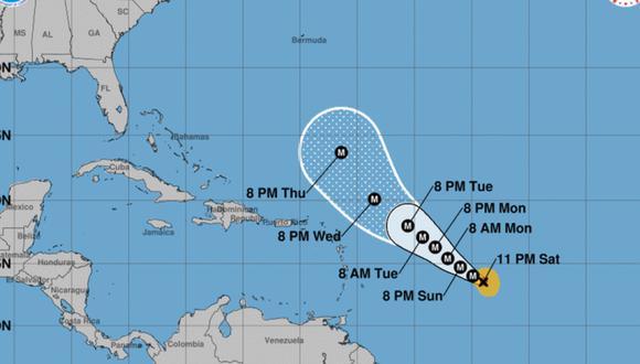 Se espera que tome incluso más fuerza el domingo por la mañana con vientos de 240 km/h (150 mph). (Foto: National Hurricane Center).