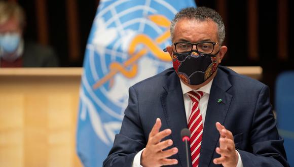 Tedros Adhanom Ghebreyesus, director general de la Organización Mundial de la Salud (OMS), asiste a una sesión sobre la respuesta al brote por coronavirus (COVID-19) en Ginebra, Suiza, el 5 de octubre de 2020. (Christopher Black/WHO/REUTERS).