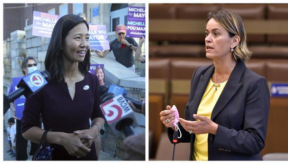 Michelle Wu y Annissa Essaibi George, las dos postulantes que llegaron a la final en las elecciones preliminares por la alcaldía de Boston. AP