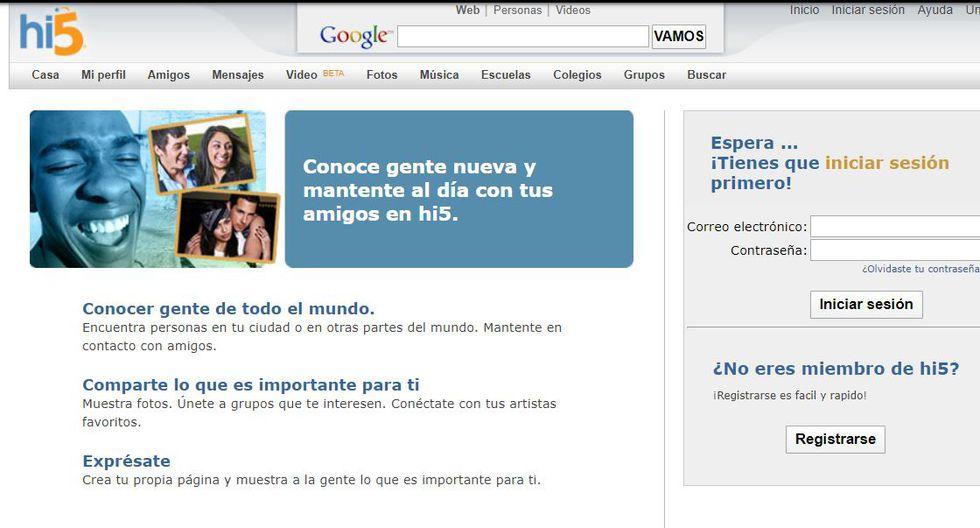 Hi5 fue la red social en Perú hasta el año 2006 aproximadamente. (Foto: Captura)