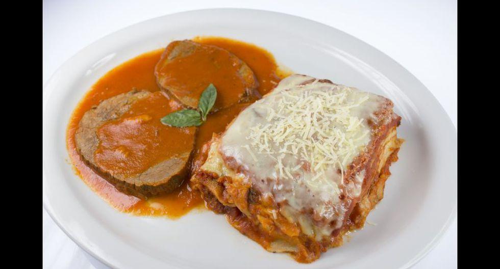 Lasagna de carne con asado.