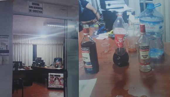 Al interior de la subgerencia mencionada se hallaron vasos descartables, botellas de ron, gaseosa y agua mineral. (Fotos: PNP)