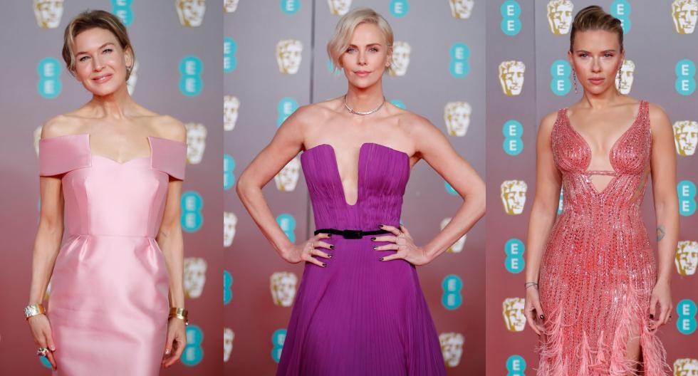 Celebridades como Reneé Zellweger y Charlize Theron lucieron despampanantes en vestidos de color rosado y morado para los premios BAFTA. En esta galería, descubre más looks.