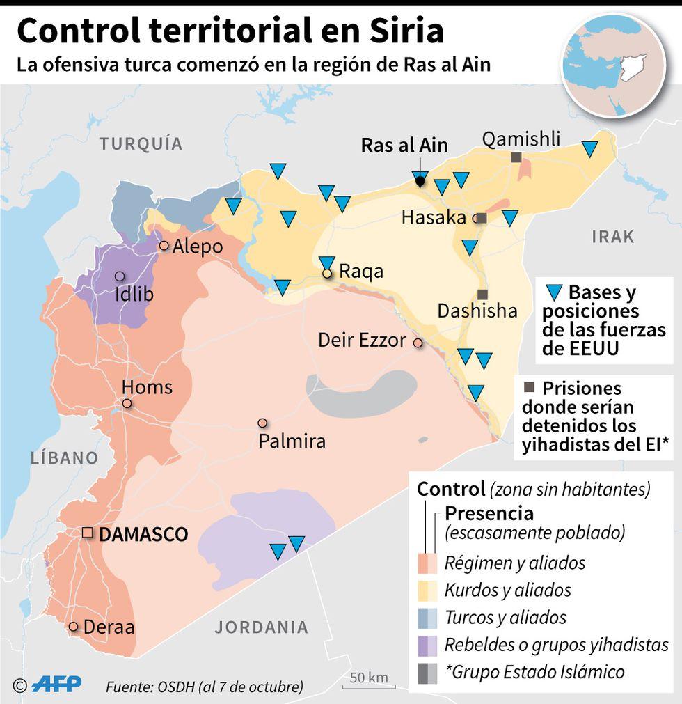 Mapa con el control de los territorios en Siria y las bases y posiciones de las fuerzas de Estados Unidos al 7 de octubre. (AFP)