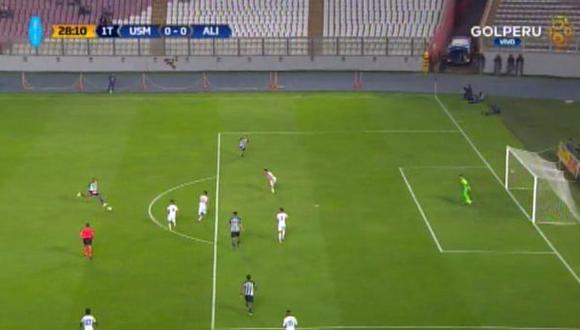 Luis Ramírez estuvo muy cerca de abrir el marcador en el Estadio Nacional | Foto: captura