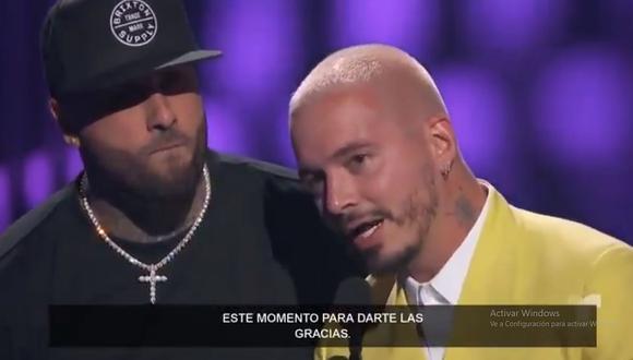 """J Balvin y Nicky Jam ganaron en la categoría 'Canción del Año, Airplay' con """"X"""". (Foto: Captura de video)"""