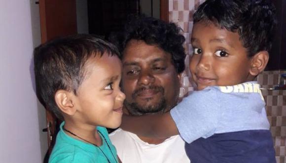 Rajesh Jayaseelan hablaba todos los días con sus dos hijos, de 6 y 4 años. Foto: MARY JAYASEELAN/ BBC Mundo