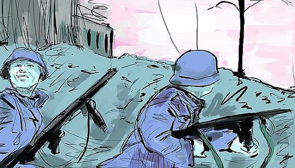 """""""Los aliados, aunque resisten con gran firmeza, todavía no han contenido la ofensiva teutona que prosigue desarrollándose progresivamente"""" (Ilustración: Giovanni Tazza)"""