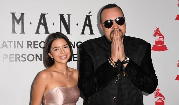 Pepe Aguilar e Angela Aguilar al gala della personalità dell'anno 2018 della Latin Recording Academy, in onore della rock band messicana Mana, a Las Vegas, Nevada, il 14 novembre 2018 (Foto: Robyn Beck/AFP)