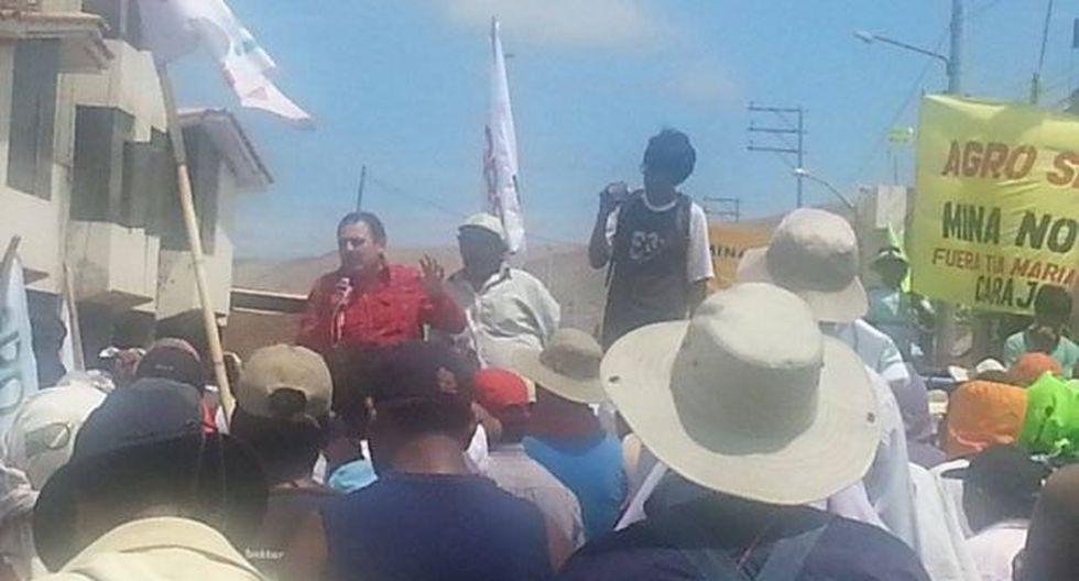 Paro por Tía María: Jorge Rimarachín respaldó a manifestantes