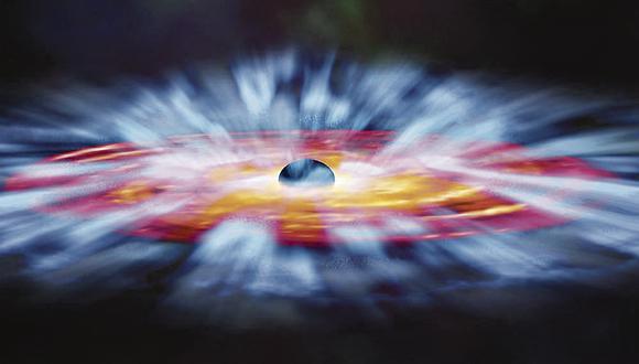 Recreación de la Nasa de un agujero negro supermasivo.