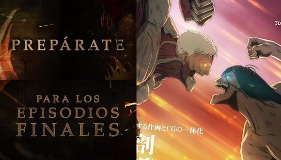 """A la izquierda, el mensaje del tráiler de """"Attack on Titan"""" (""""Shingeki no Kyojin"""") revelado por Crunchyroll. A la derecha, imagen promocional de la serie. Fotos: Crunchyroll/ CGWorld."""