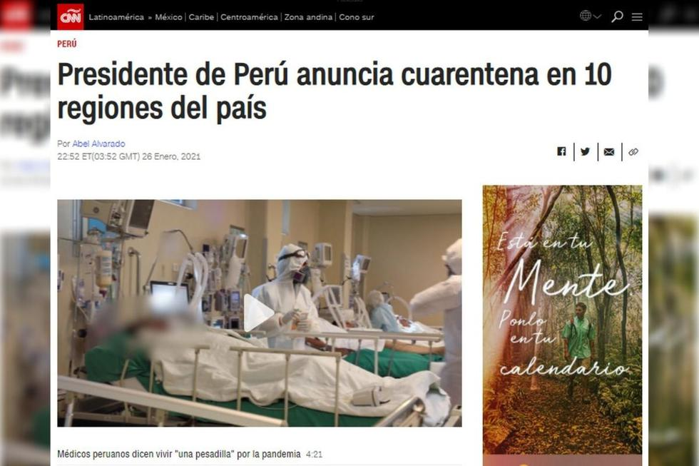 El presidente de Perú, Francisco Sagasti, anunció el último martes una nueva cuarentena del 31 de enero al 14 de febrero,. Prohibió los vuelos a Brasil para contener el incremento de casos provocado por la segunda ola de COVID-19. (Texto: AFP / Foto: CNN).