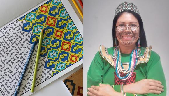 """A la izquierda, una muestra del libro """"Arte amazónico para colorear"""". A la derecha, la artesana Sadith Silvano, cuya obra está presente en la edición. Fotos: Koshi Studio."""