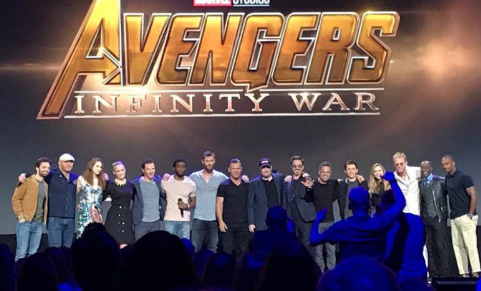 """Elenco de """"Avengers: Infinity War"""" durante la conferencia D23. (Foto: Captura de pantalla)"""