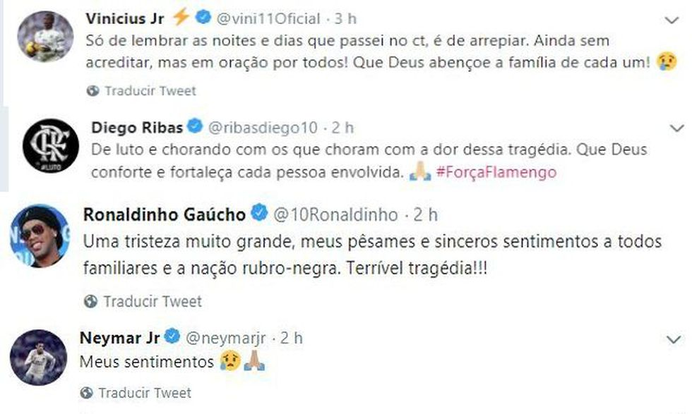 Los mensajes de solidaridad tras el incendio en sede de Flamengo.