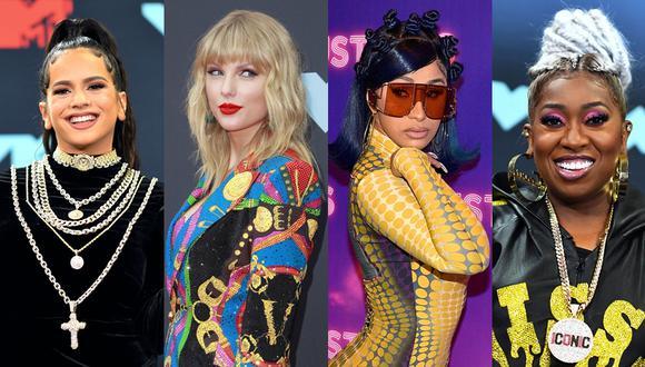 VMAs 2019. Rosalía, Taylor Swift, Cardi B y Missy Elliott. (Foto: Agencia)