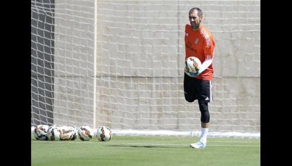 Diego López entrenó en solitario en el Real Madrid