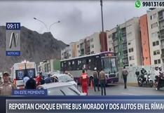 Rímac: reportan choque entre bus del corredor morado y dos vehículos
