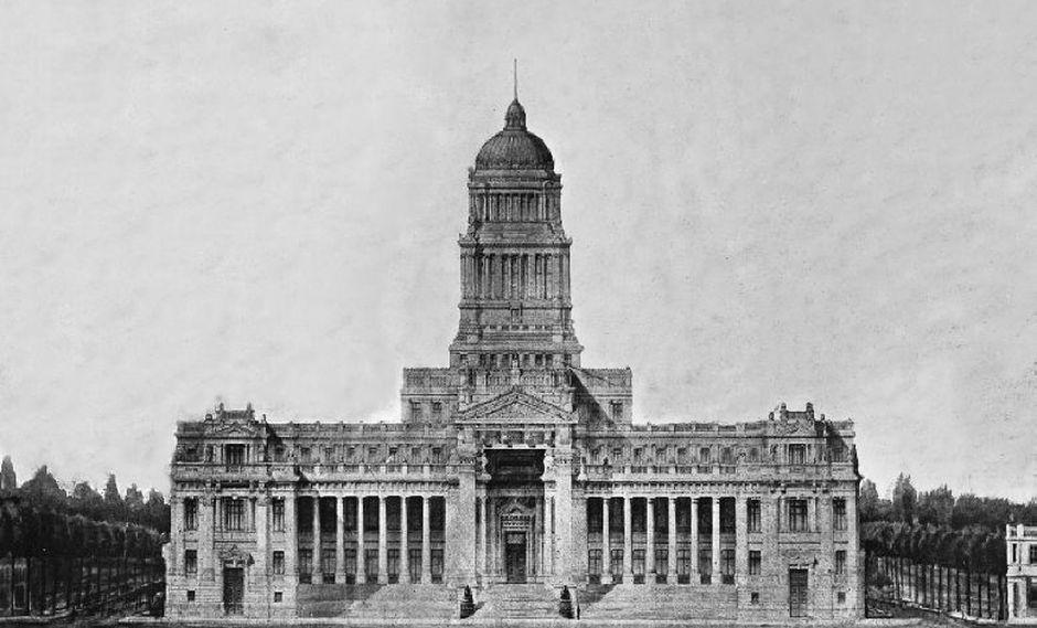 Proyecto original para la construcción del Palacio de Justicia por el Arq. Polaco Bruno Paprowscky. (Poder Judicial)