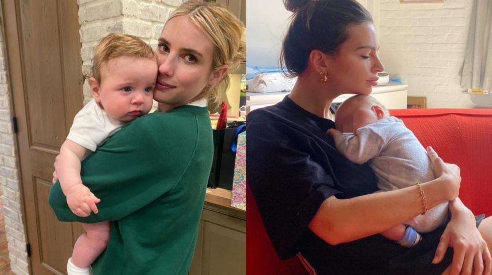 La modelo Emily Ratajkowski y la actriz Emma Roberts celebrarán esta fecha especial de una manera distinta tras convertirse en mamás por primera vez. (Foto: @emrata/@emmaroberts).