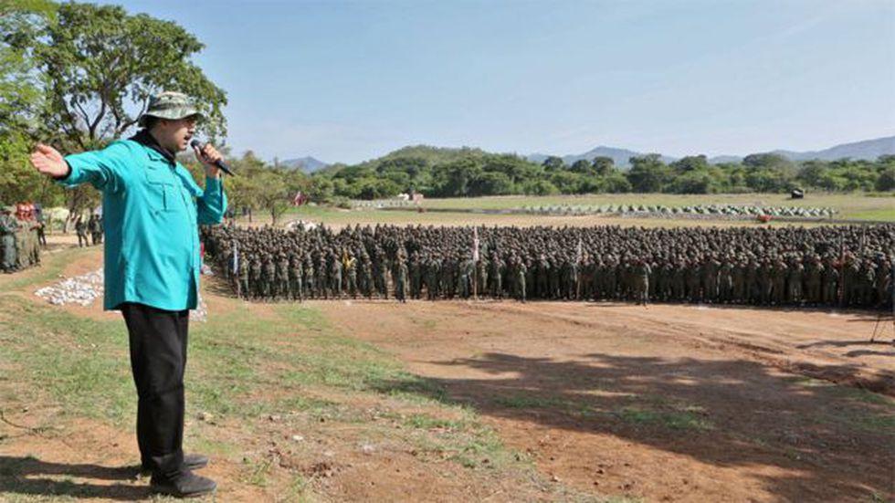 Nicolás Maduro en un acto frente a cadetes del Ejército venezolano en el estado Cojedes, en el centro del país. Foto: AFP