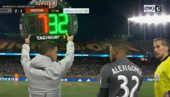 Alexi Gómez hizo su primera aparición con Minnesota United en la victoria por 2-1 frente al Houston Dynamo por la MLS. El peruano ingresó a los 78 minutos en lugar de Ibson. (Foto: captura de pantalla)