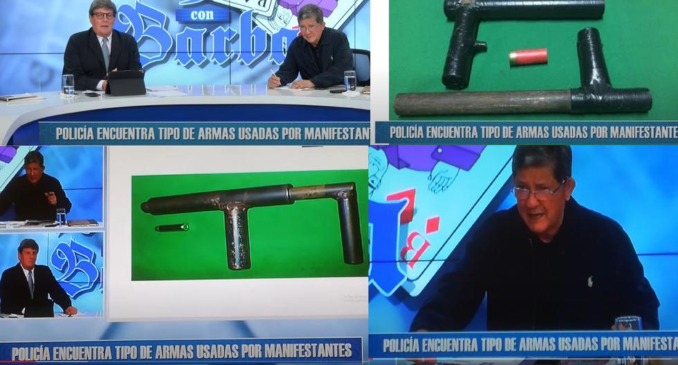 """El programa """"Rey con Barba"""" difundió imágenes de armas hechizas incautadas en Chile en el 2019, atribuyéndolas a manifestantes de las marchas ocurridas en Lima."""