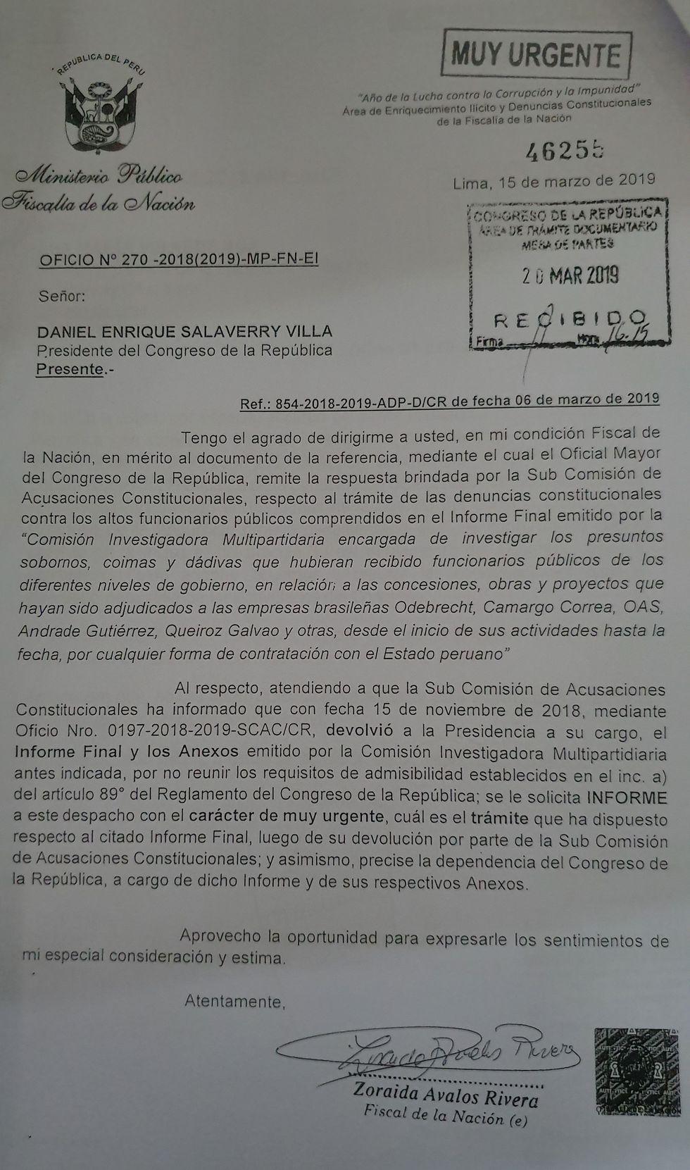 """Fiscalía de la Nación pide informes con carácter de """"muy urgente""""."""