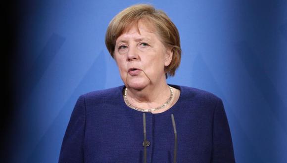 La canciller alemana Angela Merkel ofrece una conferencia de prensa tras la videoconferencia del Consejo Europeo, Berlín, Alemania. (Foto: EFE / EPA / CHRISTIAN MARQUARDT / POOL).