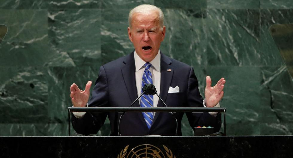 El presidente de Estados Unidos, Joe Biden, pronuncia su discurso ante la Asamblea General de la ONU. (EDUARDO MUÑOZ / POOL / AFP).