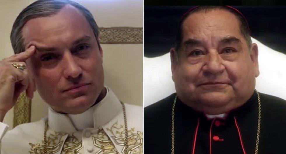 """Jude Law y Ramón García durante una escena de la primera temporada de """"The Young Pope"""". Foto: (Captura de pantalla/ Facebook)"""