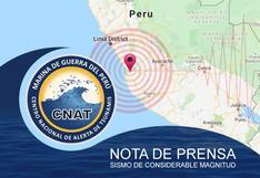 Sismo de magnitud 5.8 no genera tsunami, informa la Marina de Guerra